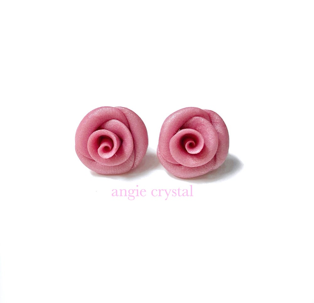 Image of Dusty Rose Stud Earrings