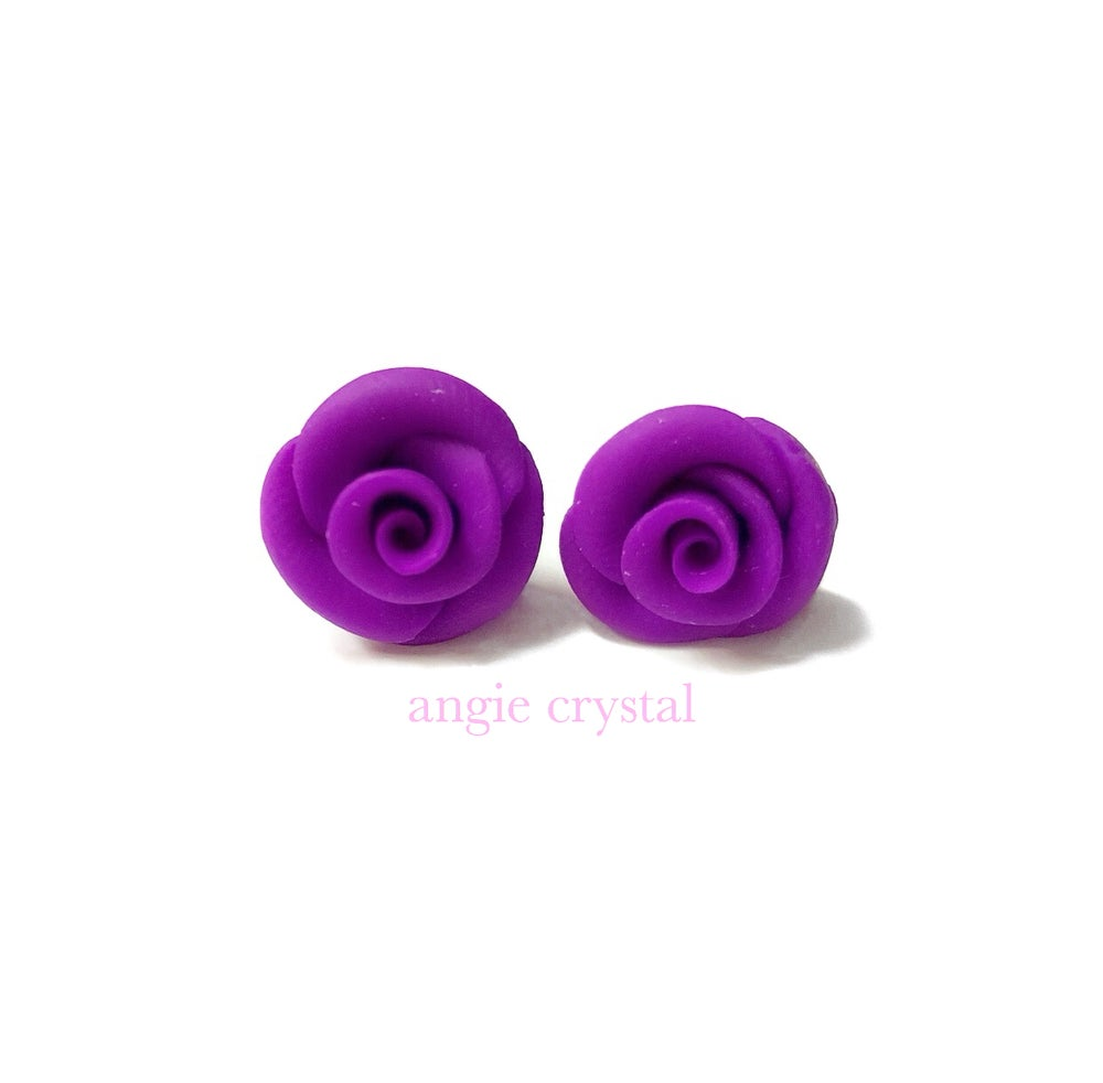 Image of Purple Rose Stud Earrings
