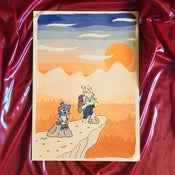 """Image of """"Evening"""" A3 Riso print featuring the Littlest Friends"""
