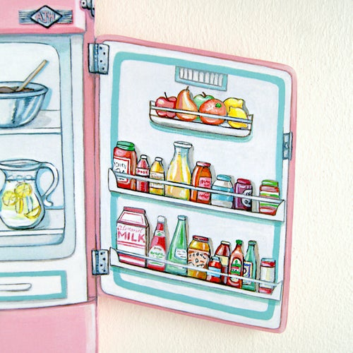 Image of Pink Vintage Stove & Fridge plaques (your choice)