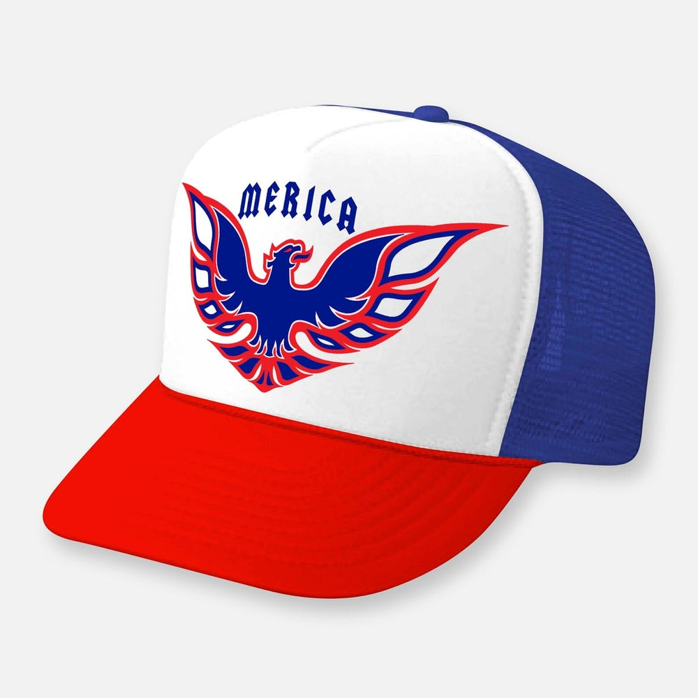 Image of Party Bird Red White And Blue Curved Bill Hat