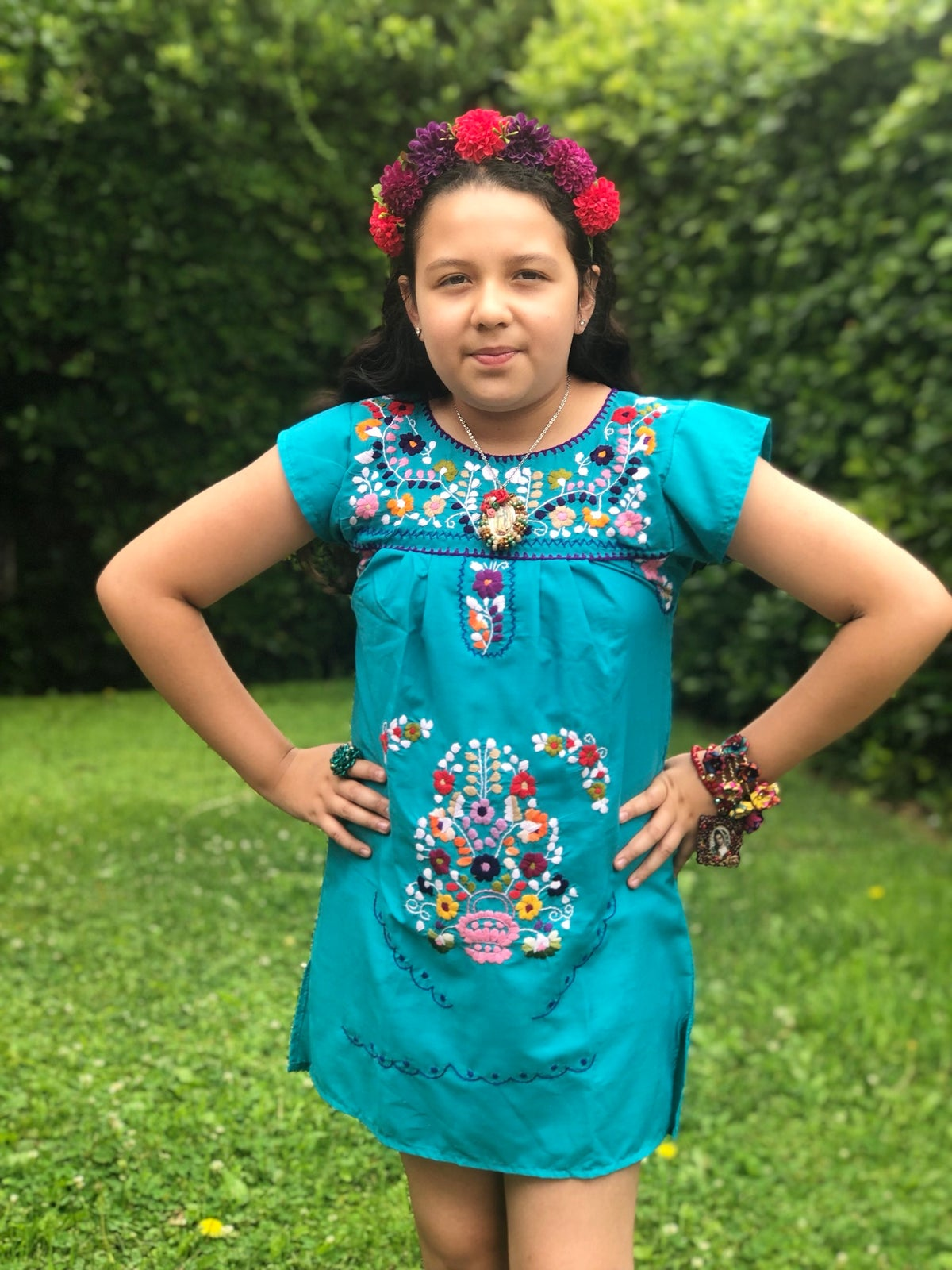 Image of Aqua Blue Mexican Girl Dress