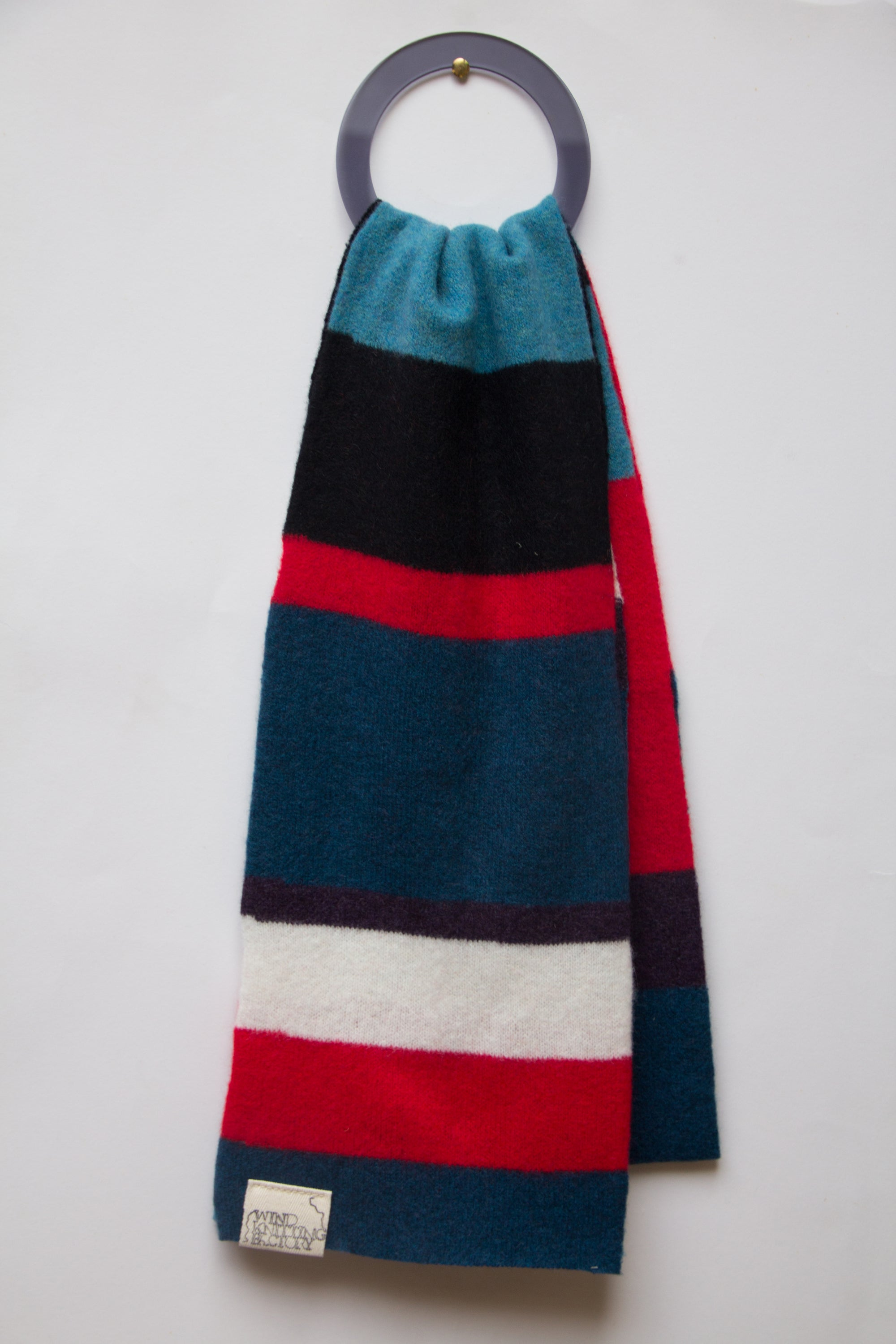Image of Wind Knitted Scarf red white blue black purple