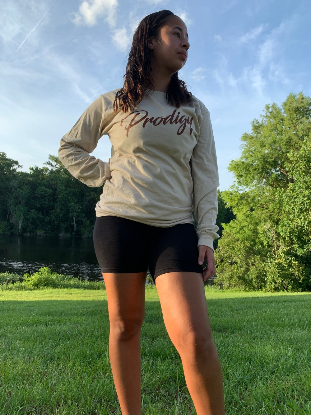 NEW BRAND PRODIGY SCRIPT TAN L/S TEE WITH SIENNA BROWN INK