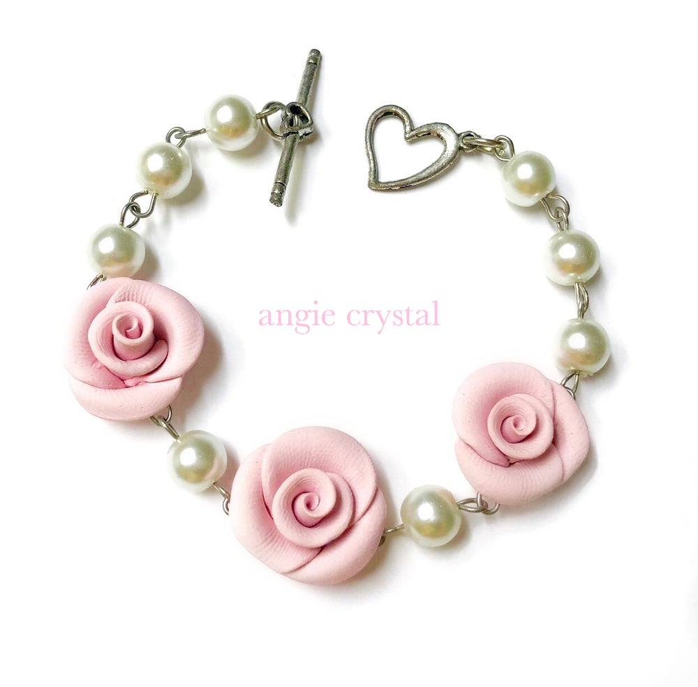 Image of Pink Rose Pearl Bracelet