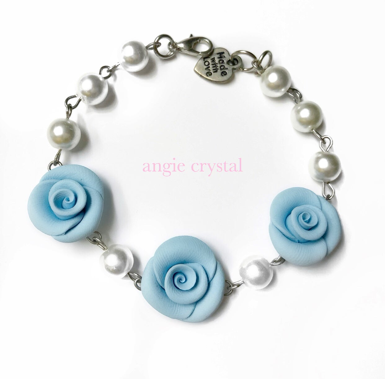 Image of Blue Pearl Rose Bracelet