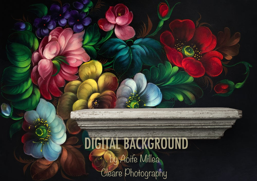 Image of vintage floral wall with shelf , newborn digital backdrop