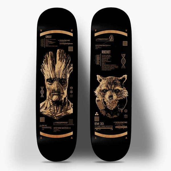 Image of Rocket & Groot Laser Etched Skateboards