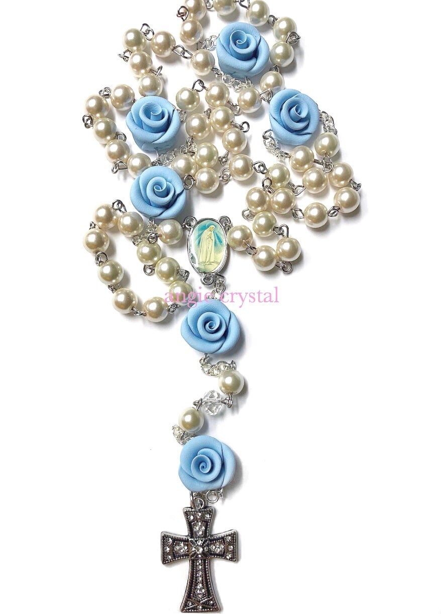 Image of Pastel Blue Pearl Rosary