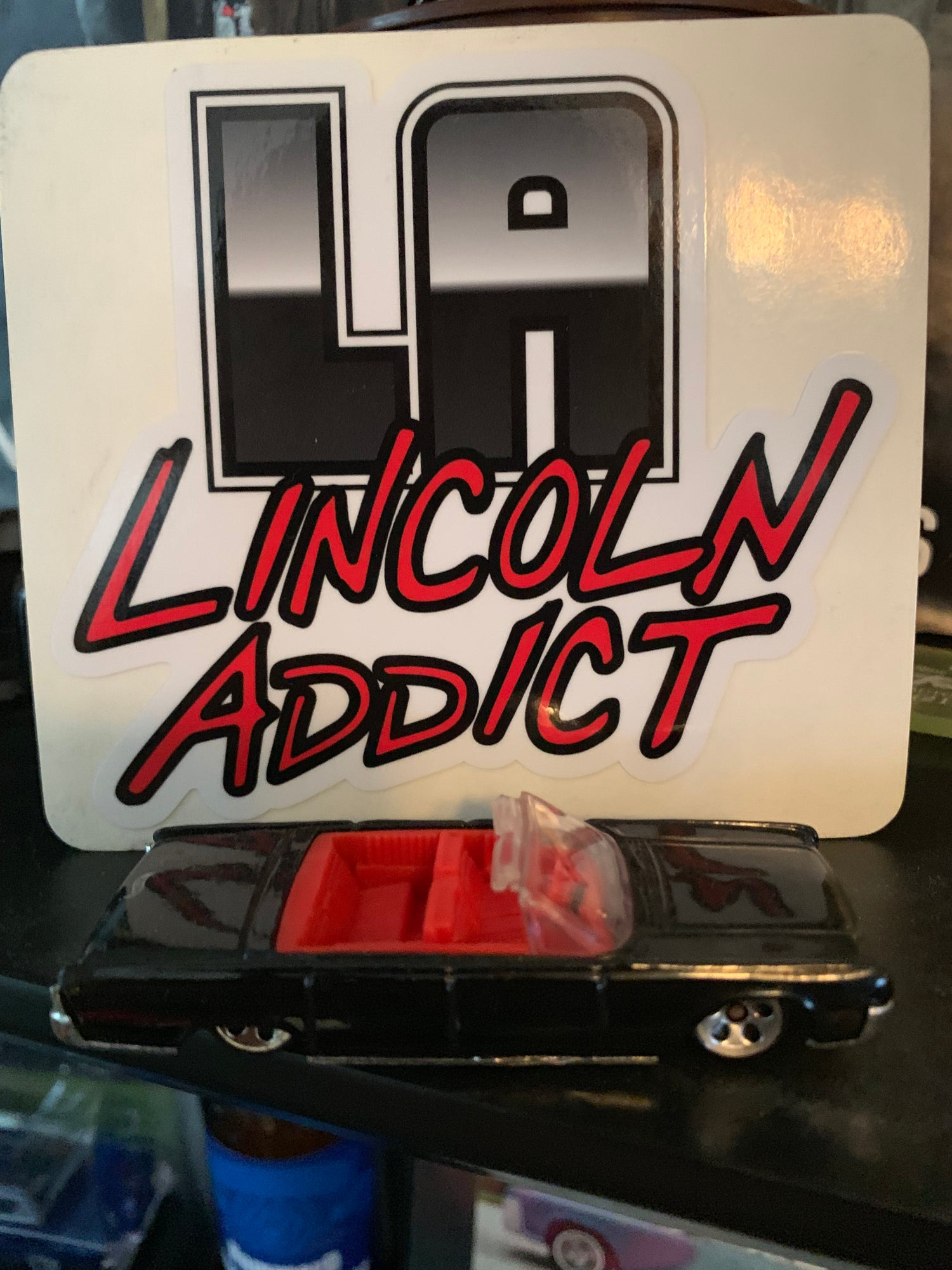Image of Lincoln Addict (Black & Red) Sticker