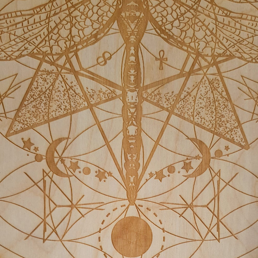 Image of DRAGONFLY FLOWER OF LIFE - Sacred Geometry Grid