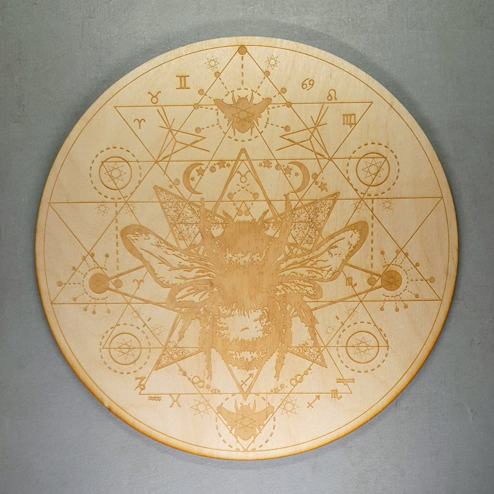 Image of SOLD OUT - HONEY BEE SRI YANTRA - Sacred Geometry Grid