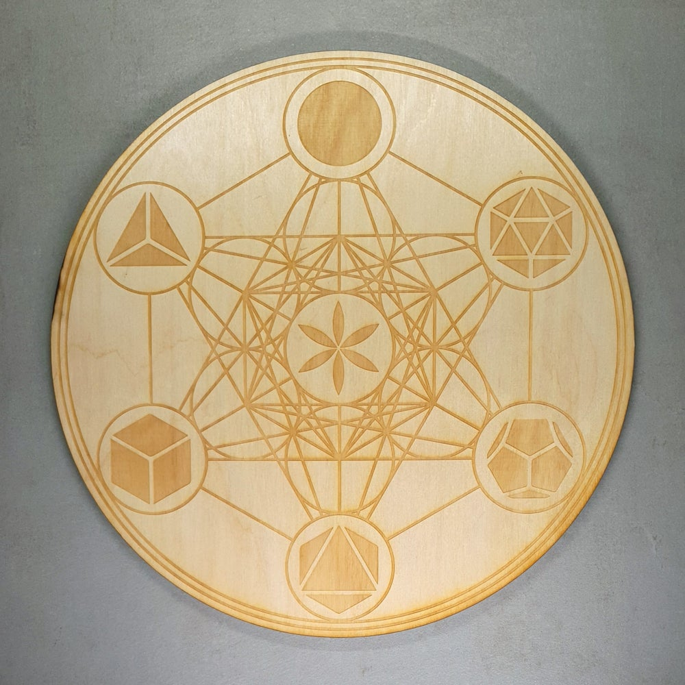 Image of METATRON's CUBE with the PLATONIC SOLIDS - Sacred Geometry Grid