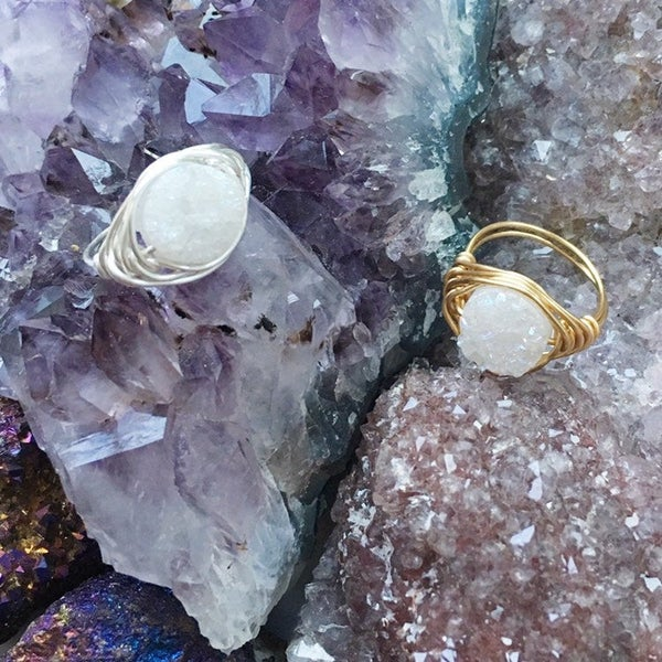 Image of White Cosmic Ring - Aura Agate Crystal