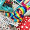 Rainbow Stripe Fleece Pixie Onesie