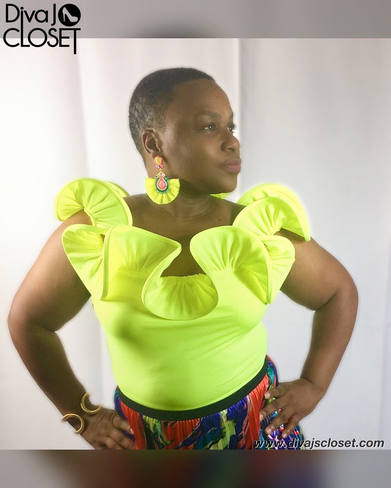 Image of Neon Frill Off The Shoulder Bodysuits
