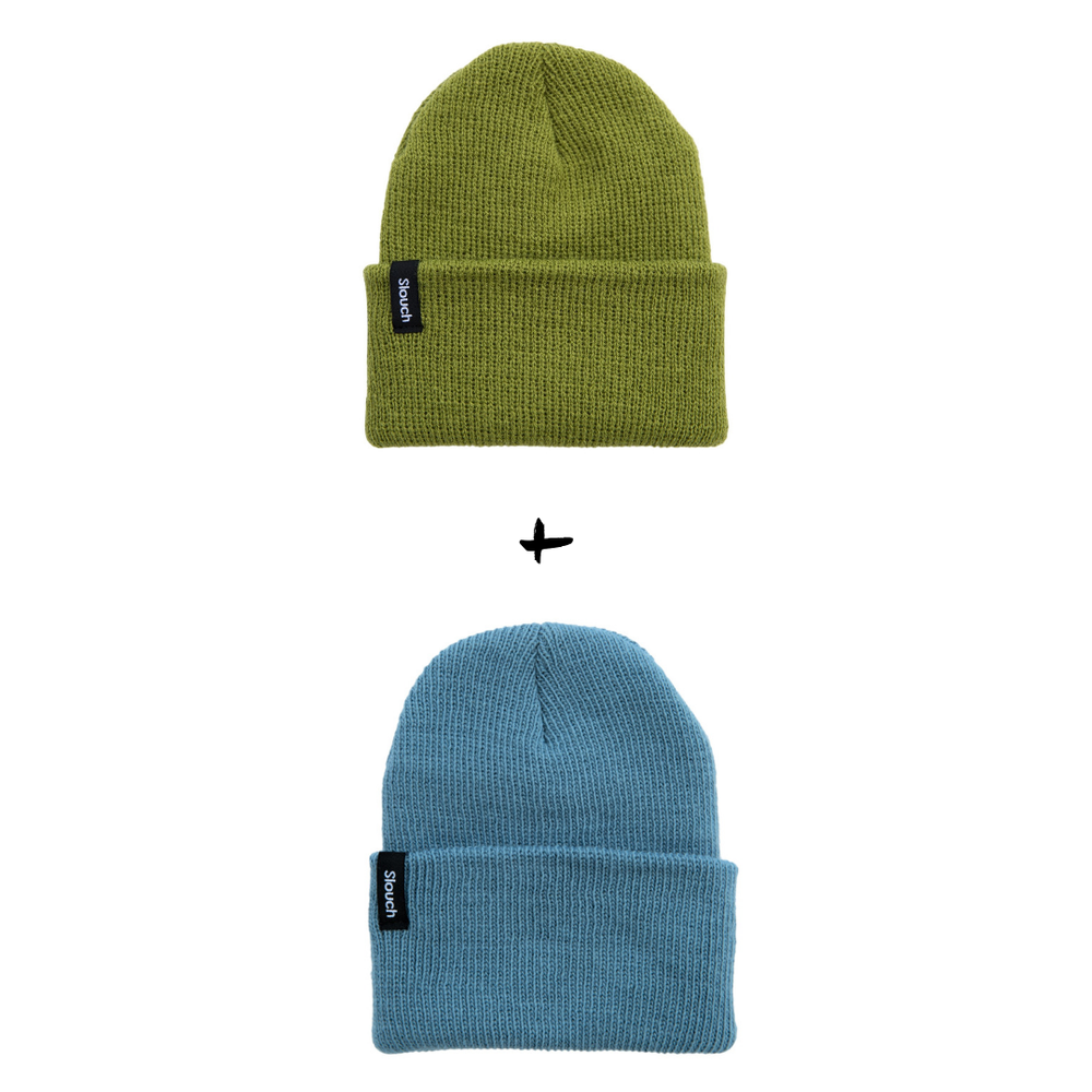 Image of Knit Cuff Beanie Bundle - Pea Green + Soft Blue
