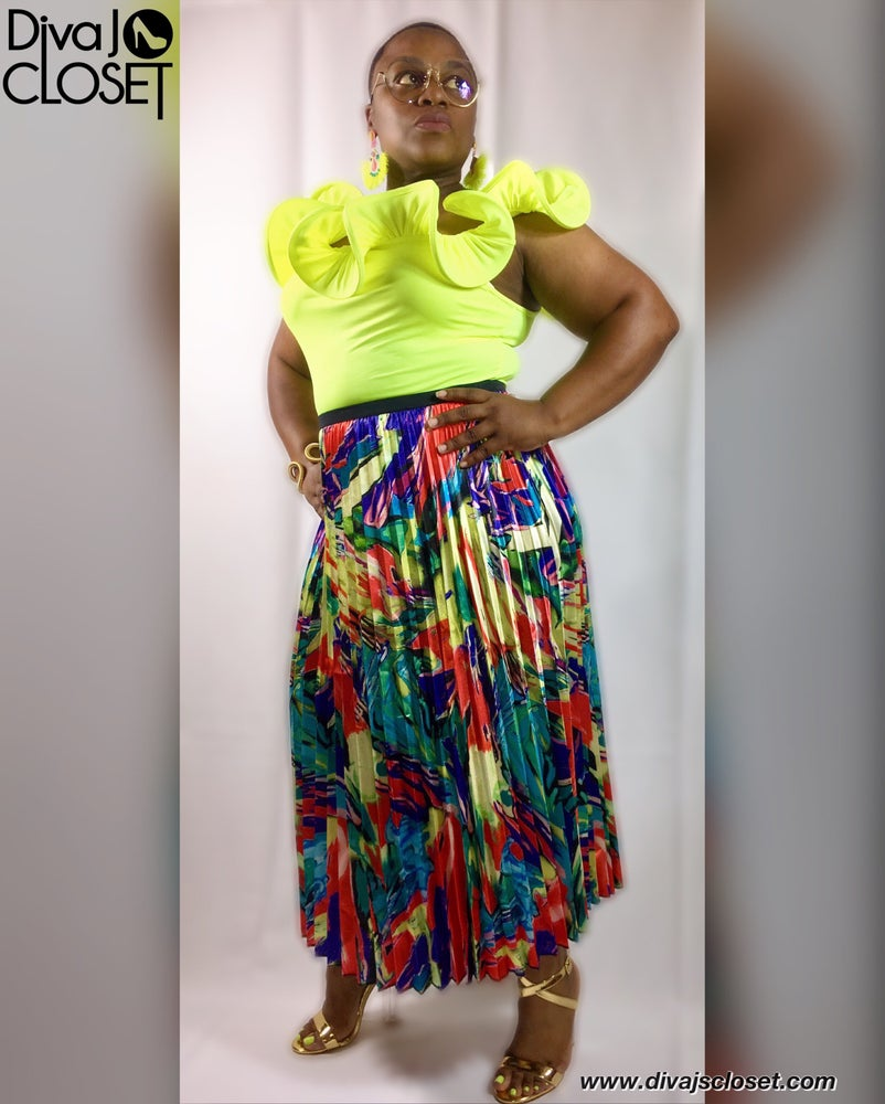 Image of Multi Colored Pleated A-line Pleated Skirt