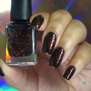 Image of Fires of Mordor – a black jelly base with ultra chrome chameleon flakes in red, gold and orange