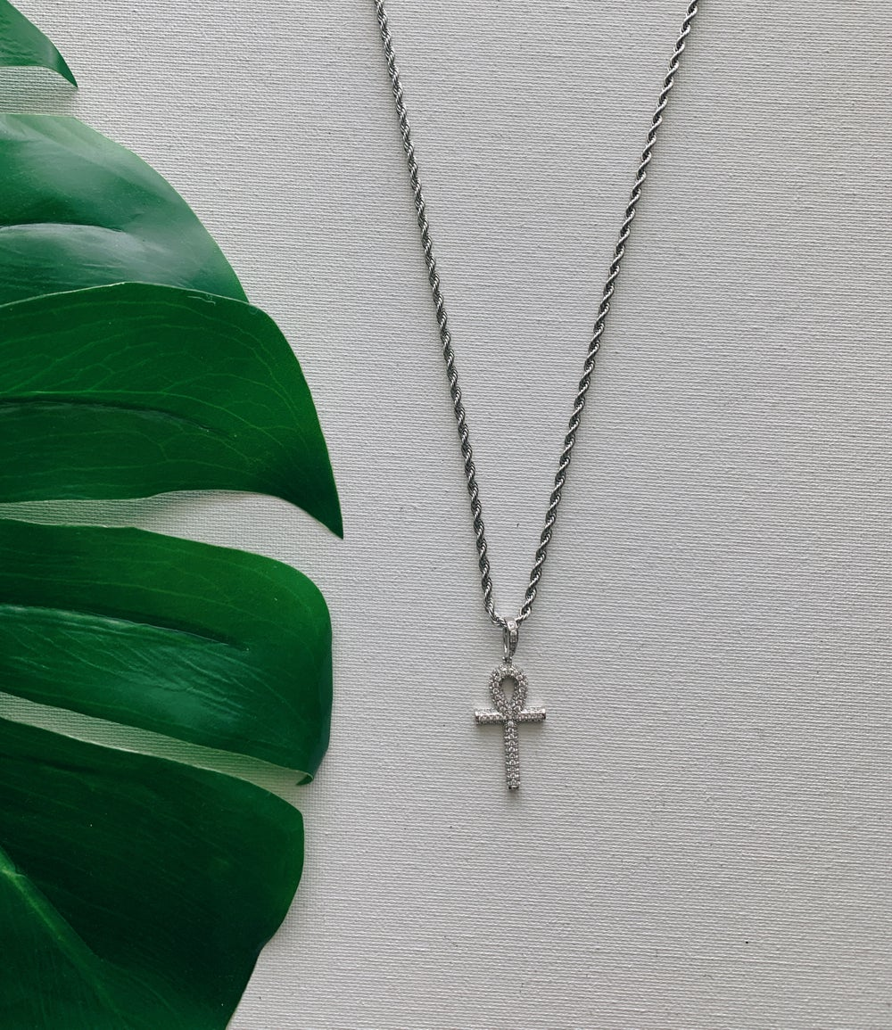 Image of DESTINY SILVER • CZ Ankh Necklace
