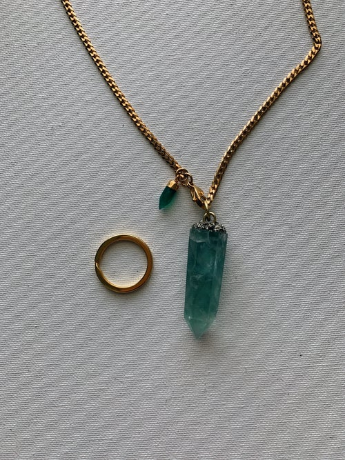 Image of DROP TOP • Convertible Lariat Necklace | Green Fluorite