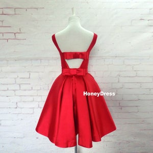 Image of Simple Red Satin 2019 Homecoming Dress, A-line Boat Neck Short Prom Party Dresses With Bowknot