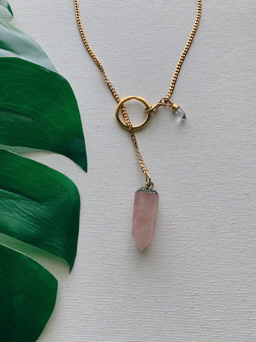 Image of DROP TOP • Convertible Lariat Necklace | Rose Quartz