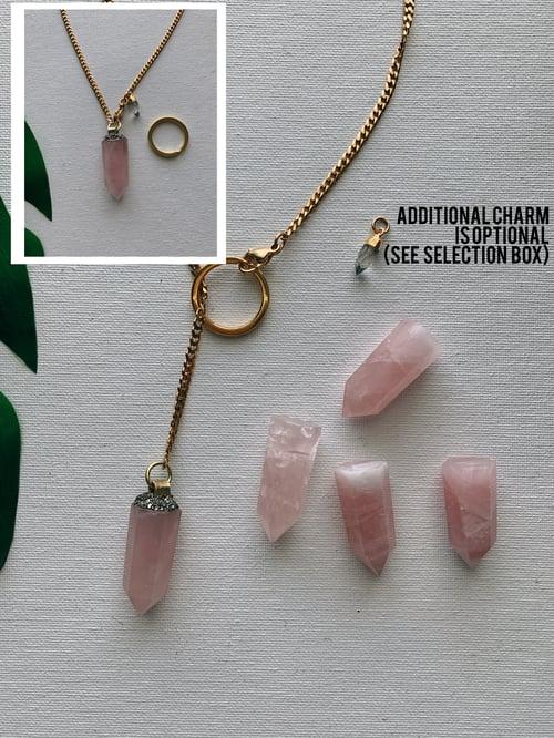 Image of DROP TOP • Convertible Lariat Necklace | Rose Quartz