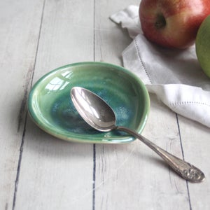 Image of Small Spoon Rest in Shimmering Green Glaze - Handcrafted Coffee Spoon Dish Made in USA