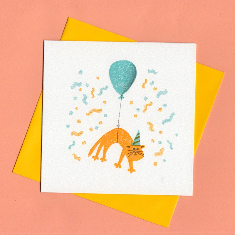 Image of Slinky Surprise, Cat Birthday Card