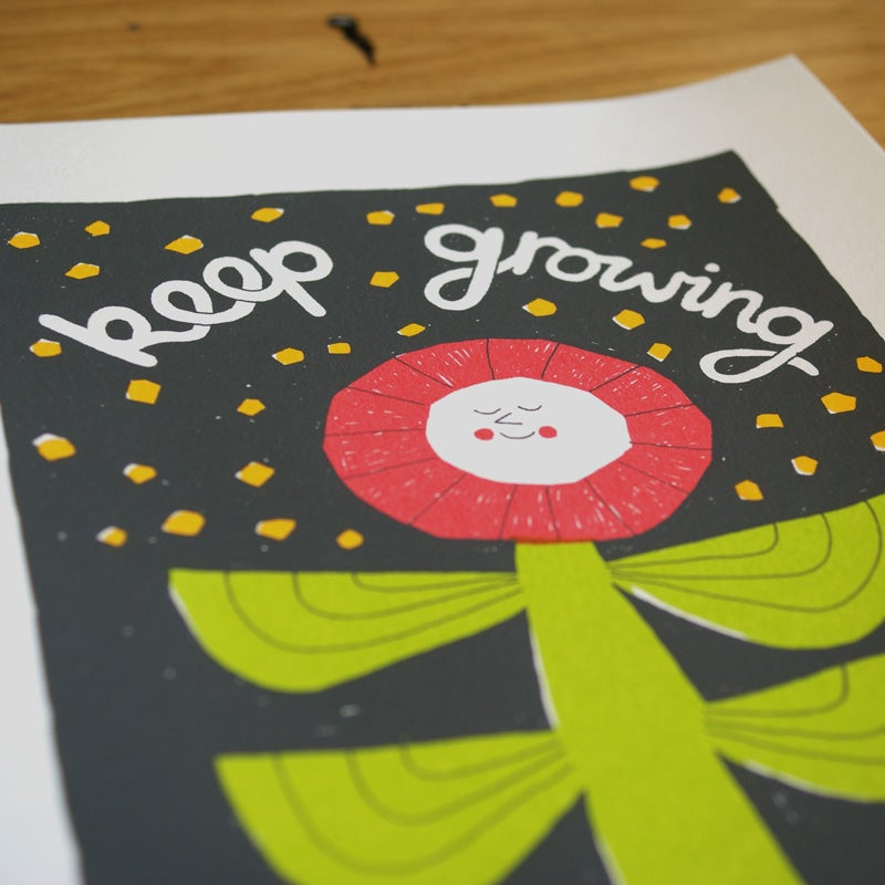 Image of Keep Going, Floral Positive Screen Print