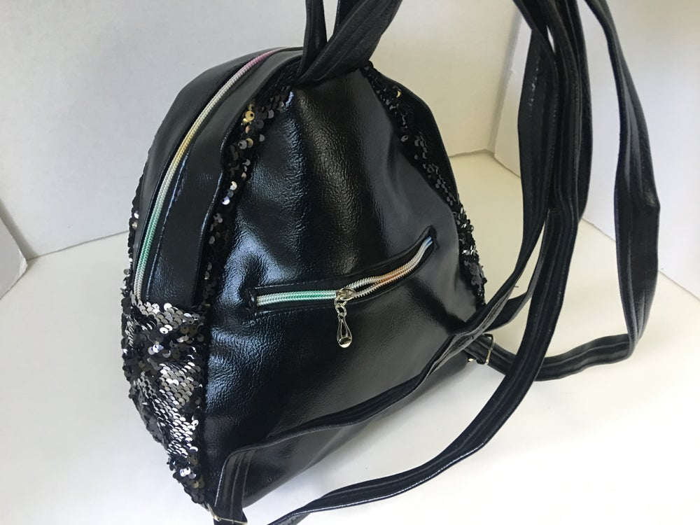 Image of Black Sequin Mini Backpack