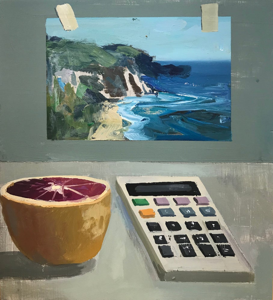 Image of Still life with blood orange and calculator