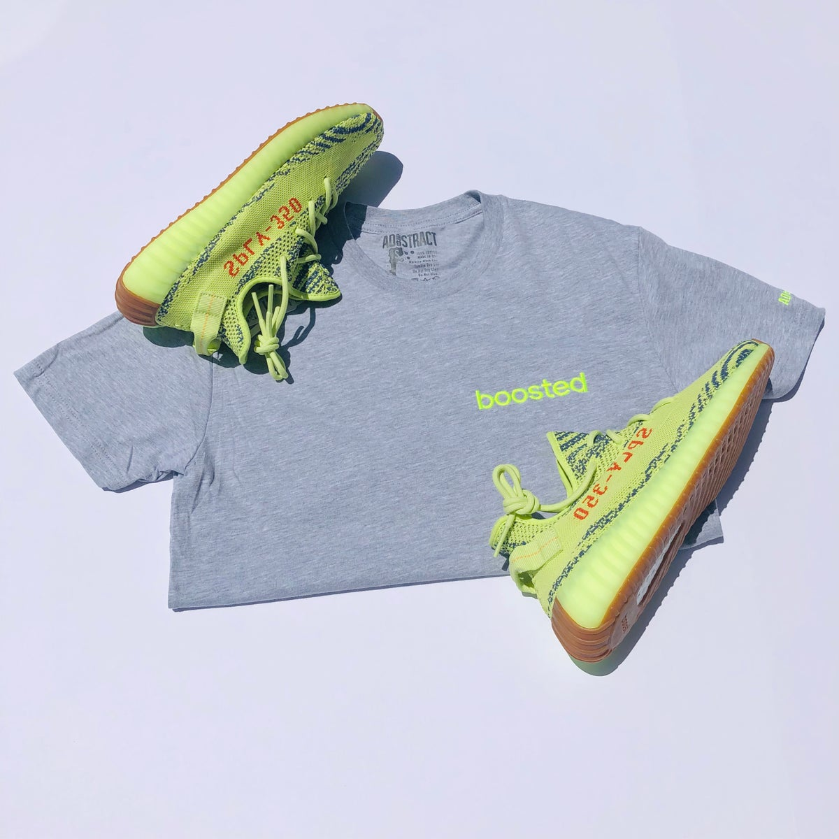 "Image of BOOSTED EMBROIDERY ""NEON YELLOW/GREY"" T-SHIRT"