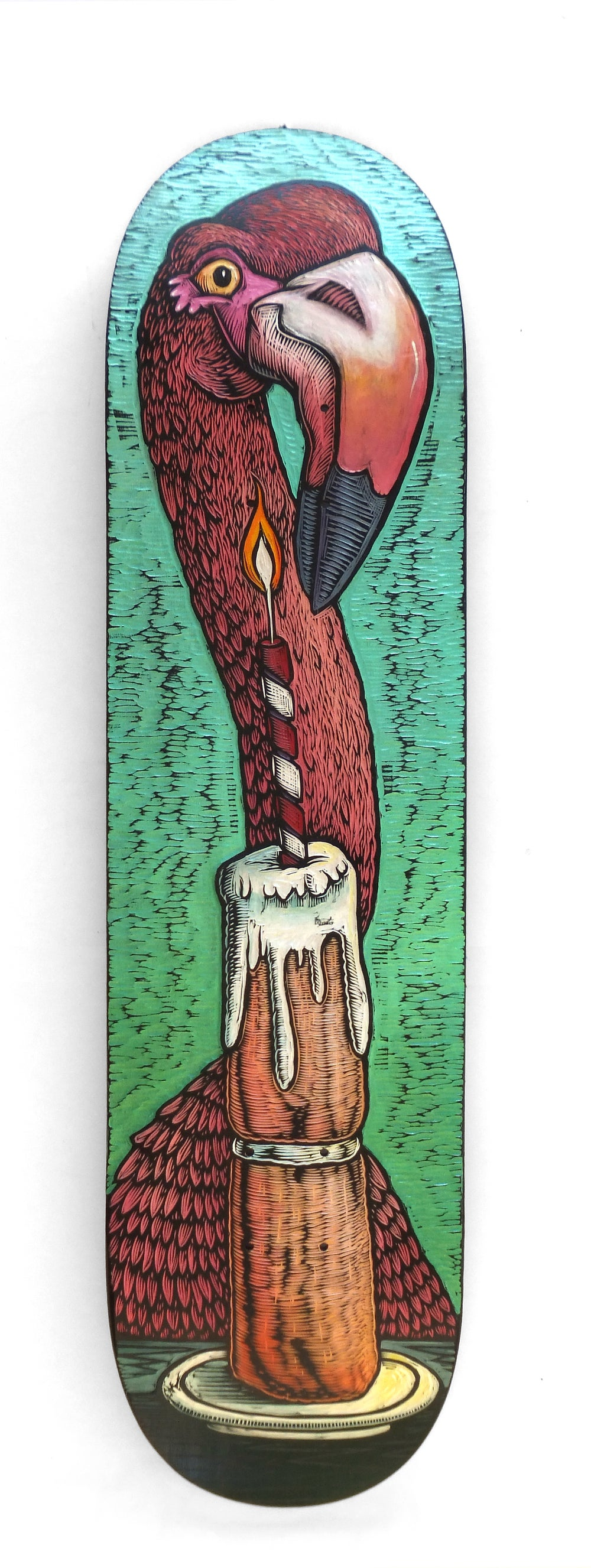 A Flamingo and a Birthday Cake Skatedeck **FREE SHIPPING**