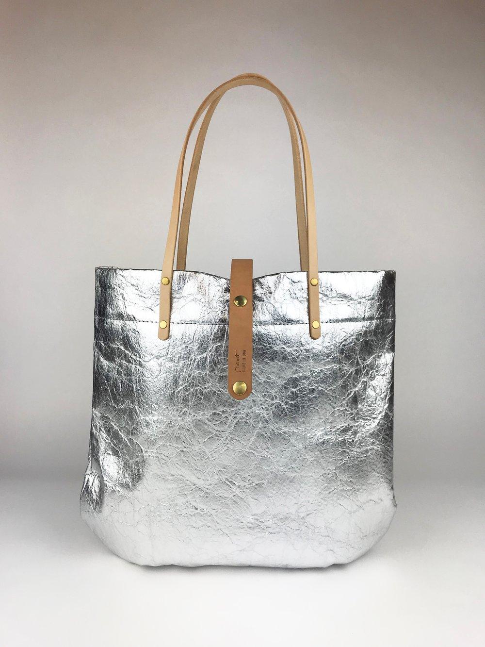 Image of Metallic Market Tote, Silver