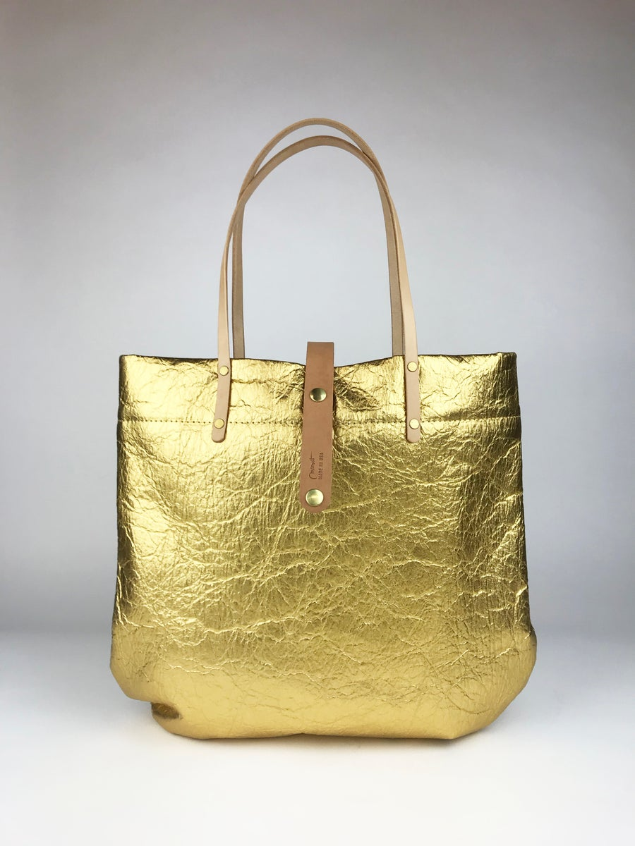 Image of Metallic Market Tote, Gold