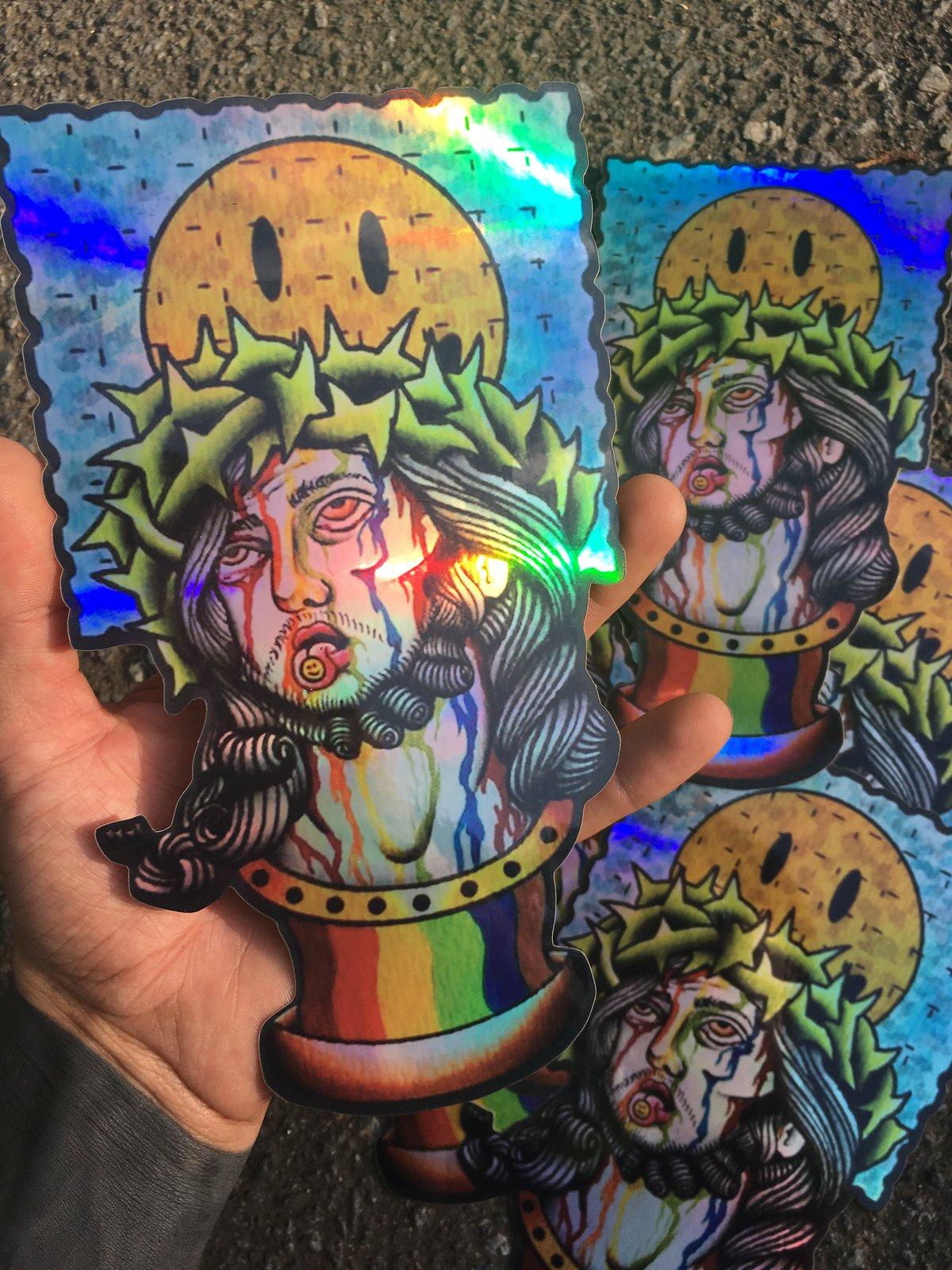 Image of Trippin' Jesus Holographic Sticker - HUGE
