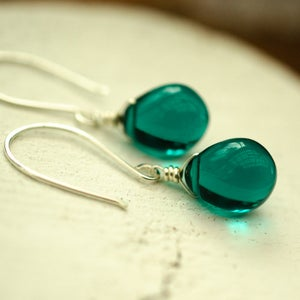Image of Teal glass earrings