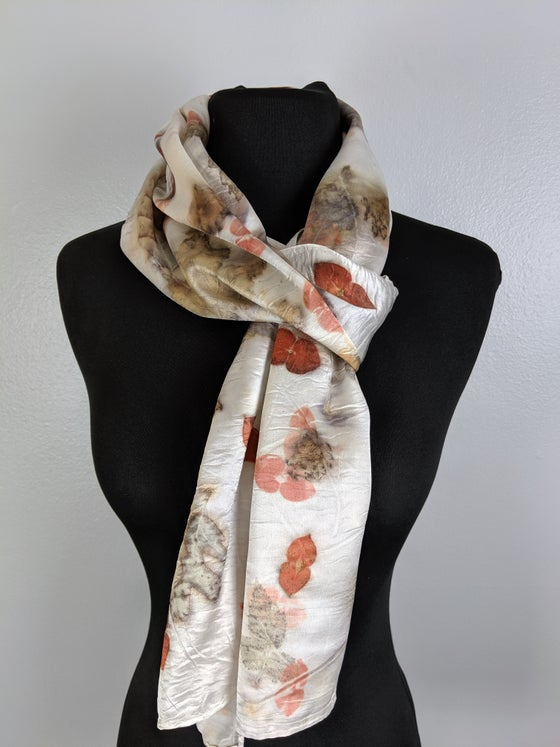 Image of botanical dyed silk scarf