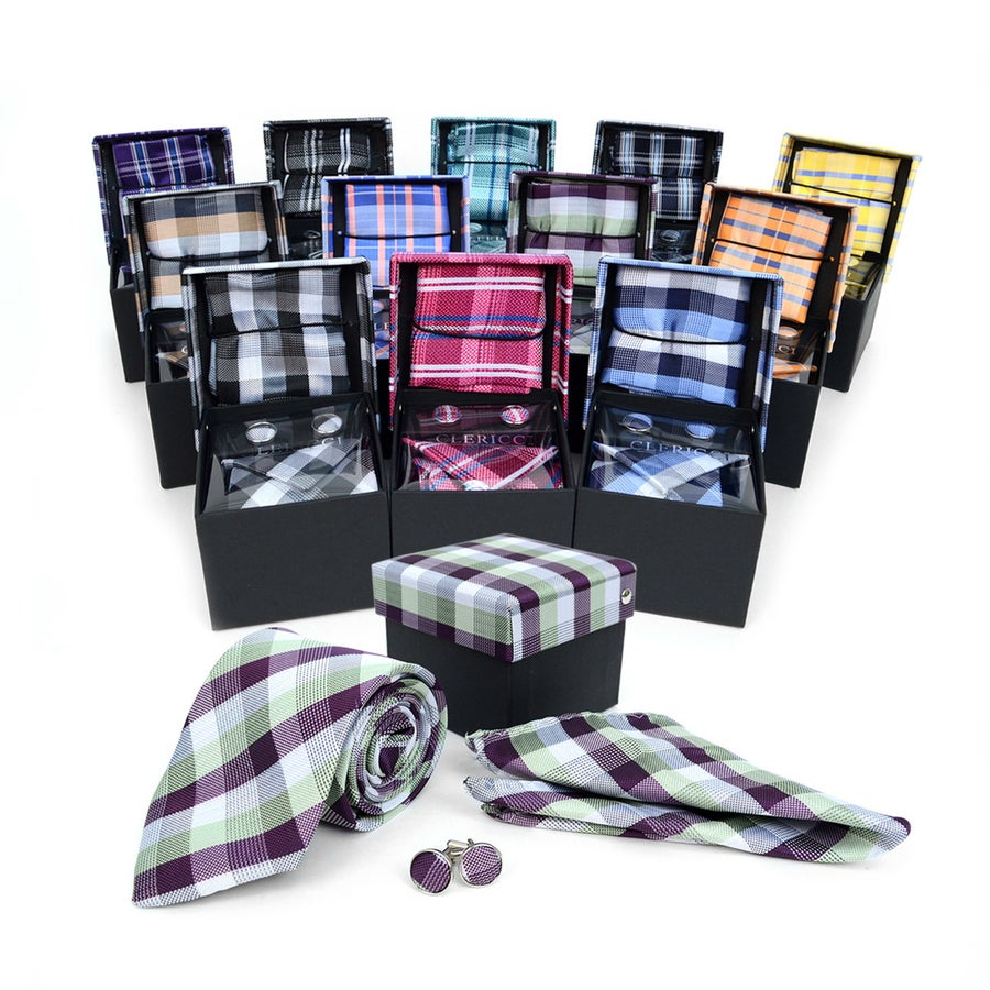 Image of Men's Cotton Skinny Tie w/ Hanky and cuff links