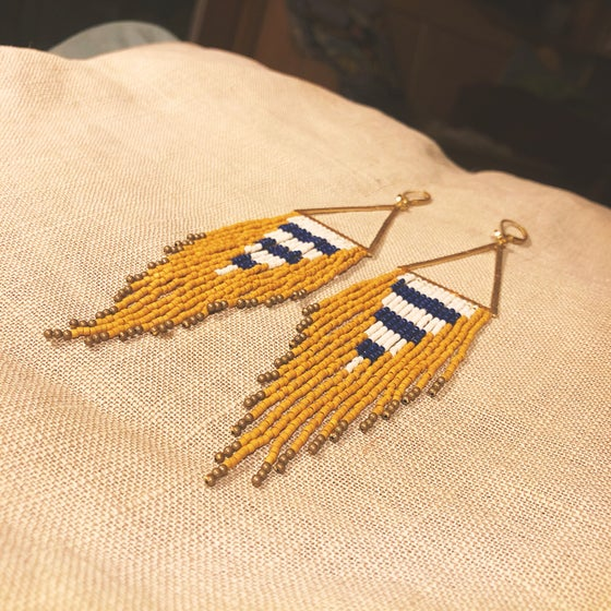 Image of Mustard, cream, & deepest navy fringe earrings