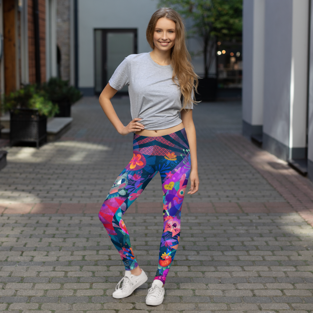 Image of Floral Cats Leggings