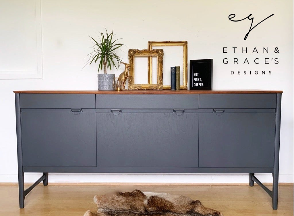 Image of Nathan Caspian teak dark grey sideboard