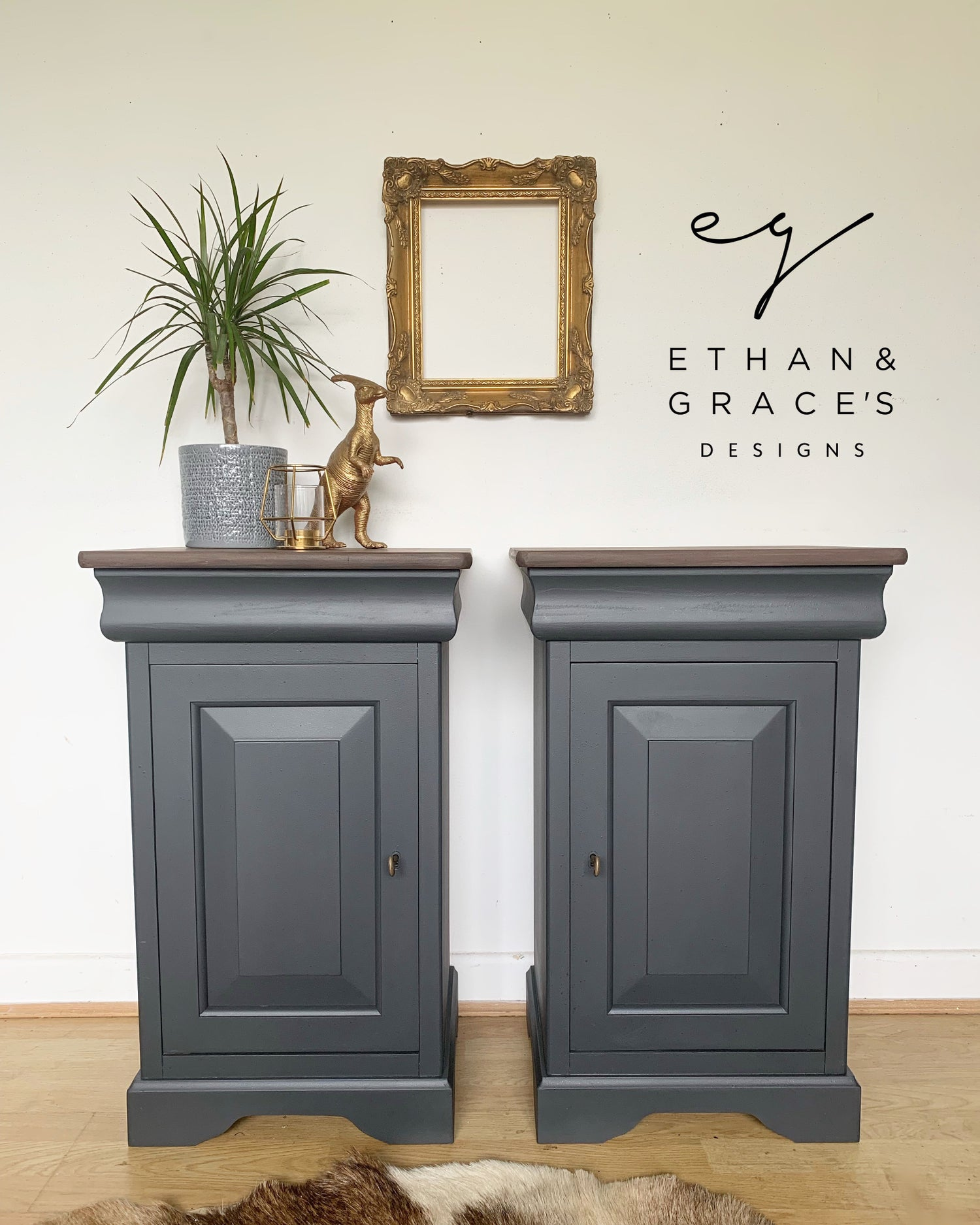 Image of A pair of stunning dark grey solid wooden bedside tables with key.