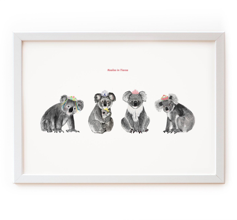 Image of Koalas in Tiaras Print