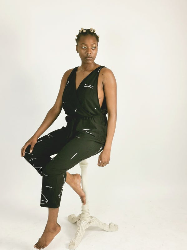Image of monochrome faces jumpsuit