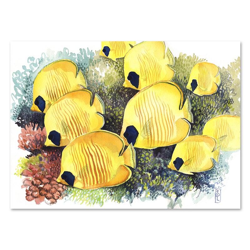 """Image of Original Painting - """"Banc de poissons-papillons jaunes"""" - 28x37,5 cm"""
