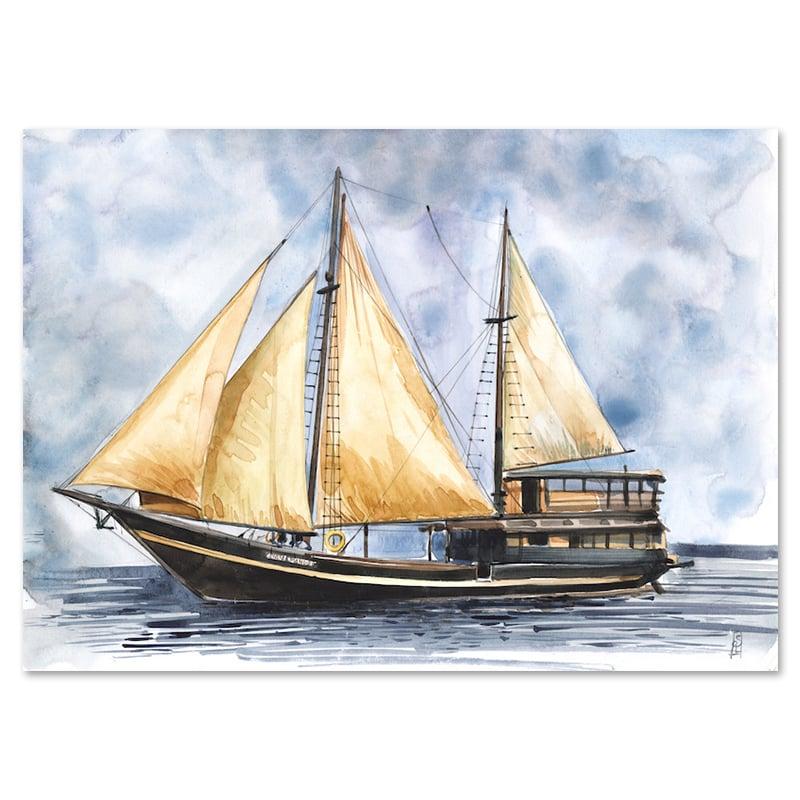 "Image of Original Painting - ""Bateau Cahaya"" - 28x37,5 cm"