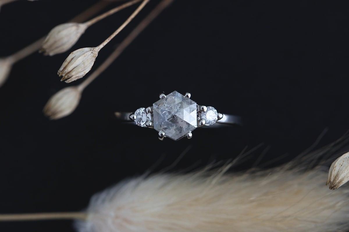 Image of platinum hexagonal rose-cut grey diamond ring (IOW114)